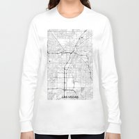las vegas Long Sleeve T-shirts featuring Las Vegas Map Gray by City Art Posters