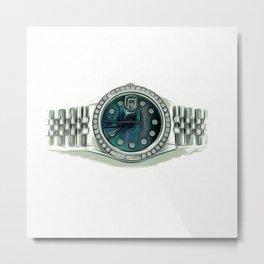 Luxury Platinum Diamond Timepiece Metal Print