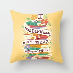 Reading list Throw Pillow