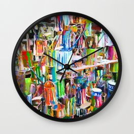 A lot dirty brushes in a bucket Wall Clock