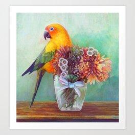 Sun conure and flowers Art Print