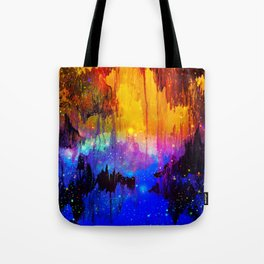 CASTLES IN THE MIST Magical Abstract Acrylic Painting Mixed Media Fantasy Cosmic Colorful Galaxy  Tote Bag