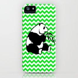 Panda on Irish Green Chevron iPhone Case