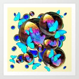 IRIDESCENT  BUBBLES BLUE BUTTERFLIES PEACOCK EYES ART DESIGN decor, furnishings Art Print