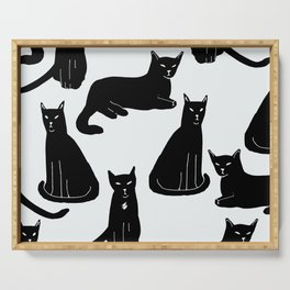 Brothers: Black cats Serving Tray