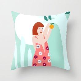 Picking oranges Throw Pillow