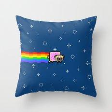 pug nyanpug Throw Pillow