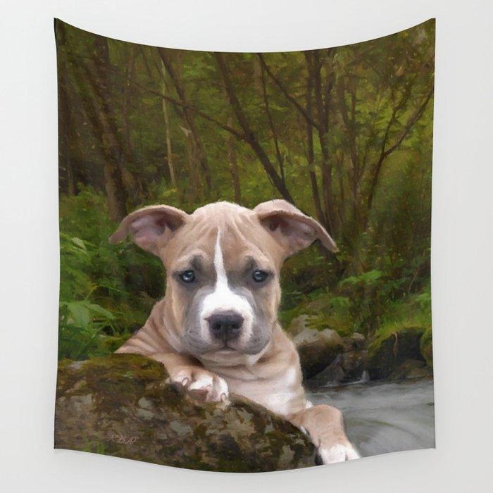 Pitbull puppy dog Wall Tapestry