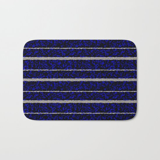 Silver Stripes with a Blue Plasma Background Bath Mat