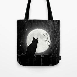 Silent Night Cat and full moon Tote Bag