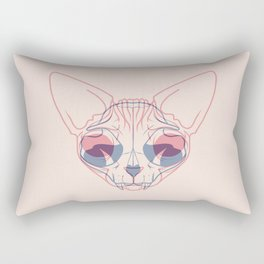 Sphynx Cat Skull Double Exposure - Overlay Hairless Kitty Illustration Rectangular Pillow