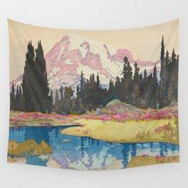 Mount Rainier Vintage Beautiful Japanese Woodblock Print Hiroshi Yoshida Wall Tapestry