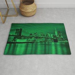 New York City - Brooklyn Bridge Green Twilight - Pop Art Panorama - Jéanpaul Ferro - Rug