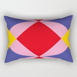 Two fly shaped wrestler's heads intersecating, making a beautiful red square in the center. Rectangular Pillow