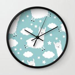 Seamless Pattern Alpaca Llama Jumping Cloud 195 Wall Clock