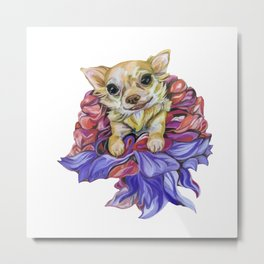 Chihuahua in the Dress Made of Flowers Metal Print