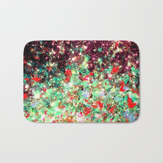 MISTLETOE NEBULA Colorful Festive Christmas Red Green Sparkle Galaxy Ombre Xmas Holidaze Abstract  Bath Mat