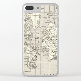 Taupe Wol Map Clear iPhone Case
