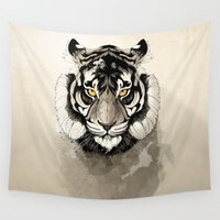 tiger Wall Tapestries featuring Tiger by Rafapasta