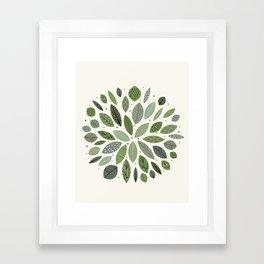 Mid-Century Green Leaves Framed Art Print