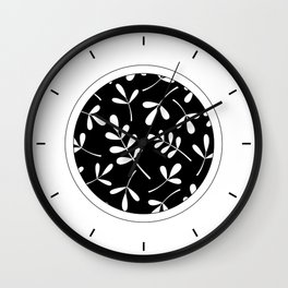 White on Black Assorted Leaf Silhouettes Wall Clock
