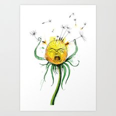 Angry Flower Whimsical Art Art Print