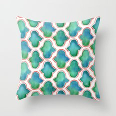 Blue/Green Moroccan Pattern Throw Pillow