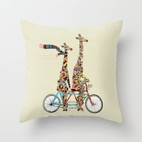 giraffe Throw Pillows featuring giraffe days lets tandem by bri.buckley