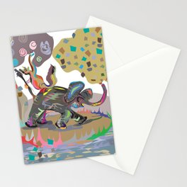 """Elephant Cha Cha"" Paulette Lust's Original, Contemporary, Whimsical, Colorful Art  Stationery Cards"