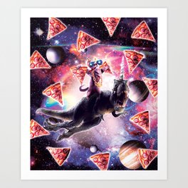 Thug Space Cat On Dinosaur Unicorn - Pizza Art Print