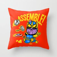 thanos Throw Pillows featuring Assemble! by Demonigote