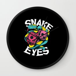 Snake eyes dice best gift Wall Clock