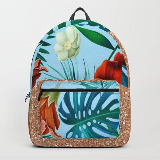 Tropical blue floral rose gold Backpack