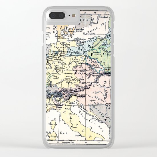 Europe in 1740 - Vintage Map Collection Clear iPhone Case