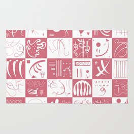 Kandinsky - White and Rose Pattern - Abstract Art Rug