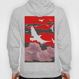 WHITE BIRDS IN FLIGHT RED-GREY SKY ABSTRACT Hoody