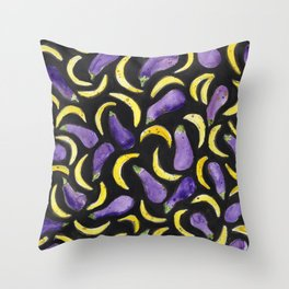 Eggplant & Bananas Throw Pillow