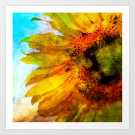 Sunflower on colorful watercolor background - Flowers Art Print