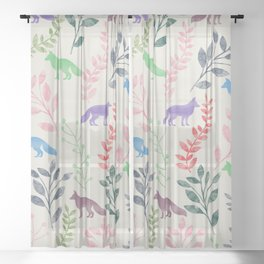 Watercolor Floral & Fox III Sheer Curtain