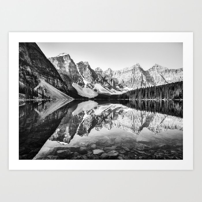 Moraine lake reflection black and white art print