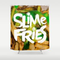 fries Shower Curtains featuring Slime Fries by Kyle Harlan