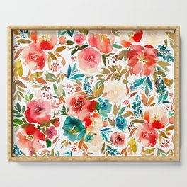 Red Turquoise Teal Floral Watercolor Serving Tray
