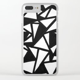 abstract black and white broken triangles pattern Clear iPhone Case