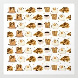 Breakfast Time Pattern on (Egg) White Art Print