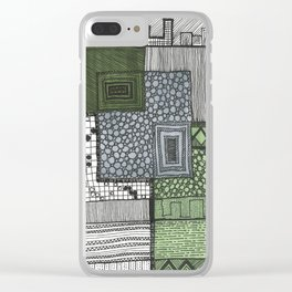 Hand drawn pattern three squares Clear iPhone Case
