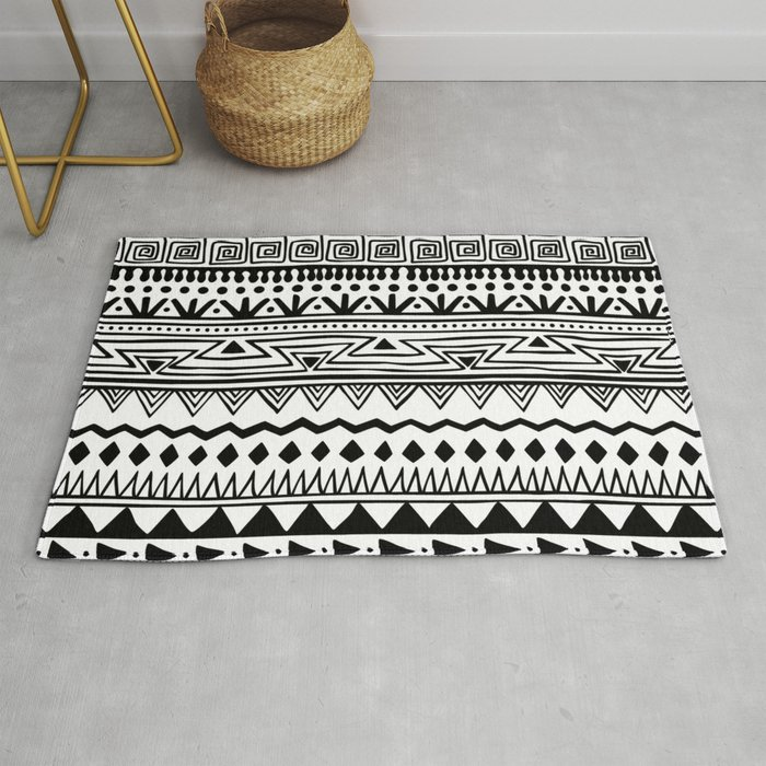 Black And White Tribal Print Rug By