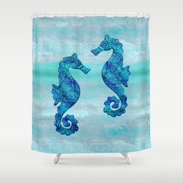 Blue Seahorse Couple Underwater Shower Curtain