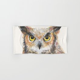 Owl Watercolor Great Horned Owl Painting Hand & Bath Towel