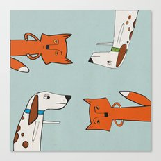The fox and the hound look disgruntled at one another. Canvas Print