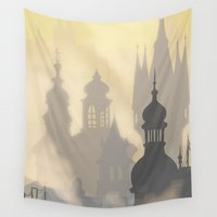 buildings Wall Tapestries featuring sunrise buildings by Mel Fox
